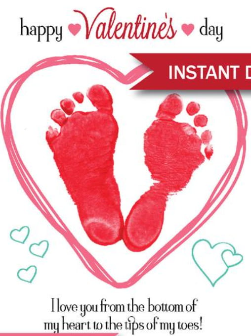Valentine's Day Footprint Printable For Dad