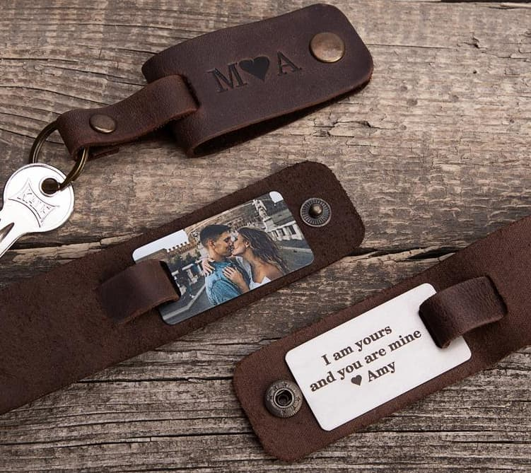 Leather Keychain Valentine Gift For Dads