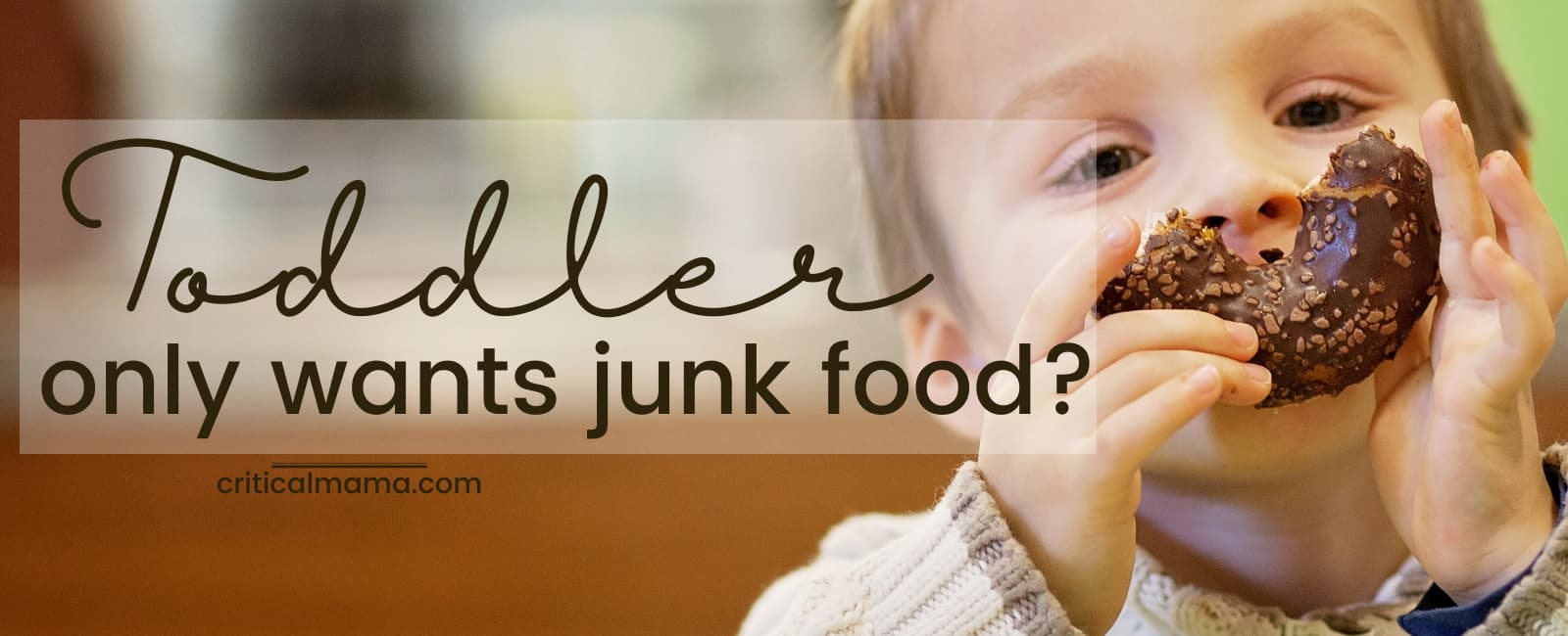 Toddler eating a donut, text reads toddler only wants junk food?